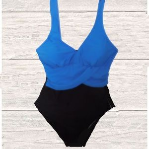 Other - NWT ROYAL BLUE/ BLACK ONE PIECE SWIMSUIT
